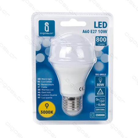 Lâmpada LED E27 10W 3000K Luz Quente A5 A60 Aigostar