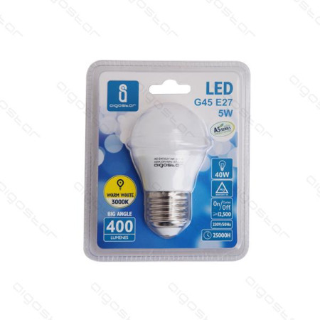 Lâmpada LED E27 7W 6400K Luz Fria 560 Lúmens A5 G45 Aigostar