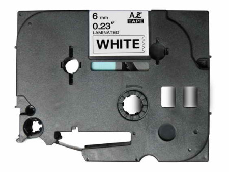 Fita Laminada Compatível Brother TZE-211 - 6mm x 8 metros Preto/Branco