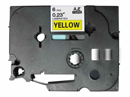 Fita Laminada Compatível Brother TZE-611 - 6mm x 8 metros Preto/Amarelo