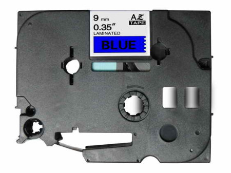 Fita Laminada Compatível Brother TZE-521 - 9mm x 8 metros Preto/Azul