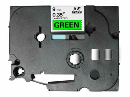 Fita Laminada Compatível Brother TZE-721 - 9mm x 8 metros Preto/Verde