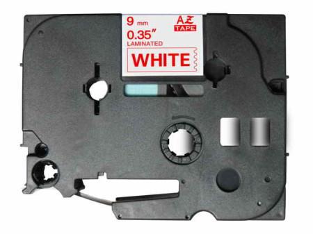 Fita Laminada Compatível Brother TZE-222 - 9mm x 8 metros Vermelho/Branco