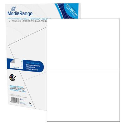 Etiquetas Adesivas Permanentes Mediarange - 210 x 148.5mm (100 un)