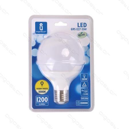 Lâmpada LED E27 15W 6400K Luz Fria 1275 Lúmens A5 G95 Aigostar