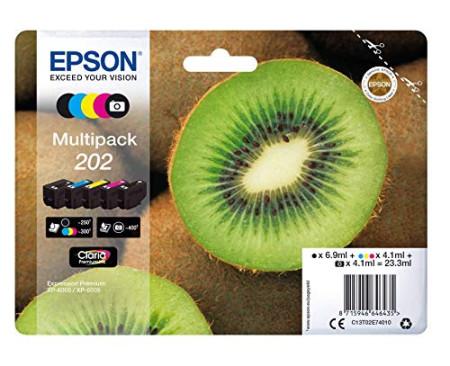 Conjunto 5 Tinteiros Epson 202 Originais Série Kiwi (C13T02E74010)