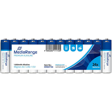 Pilhas Mediarange Alcalinas LR6 (AA) - Pack 24