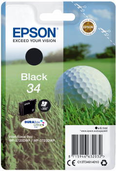 Tinteiro Epson 34 Preto Original Série Bola de Golfe (C13T34614010)