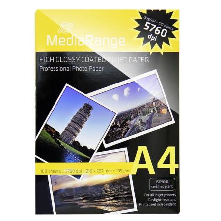 Papel Fotográfico A4 135g GLOSSY MediaRange (100 folhas)   - ONBIT
