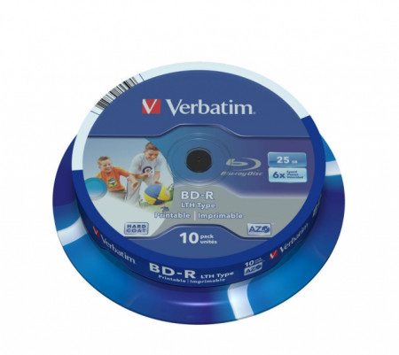BD-R 25GB 6X VERBATIM PRINTABLE BLU-RAY - Pack 10  43804 - ONBIT