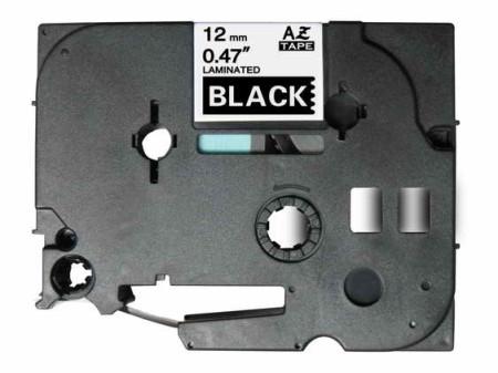 Fita Laminada Compatível Brother TZE-335 - 12mm x 8 metros Branco/Preto