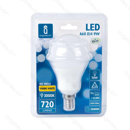 Lâmpada LED E14 9W 3000K Luz Quente A5 A60 Aigostar