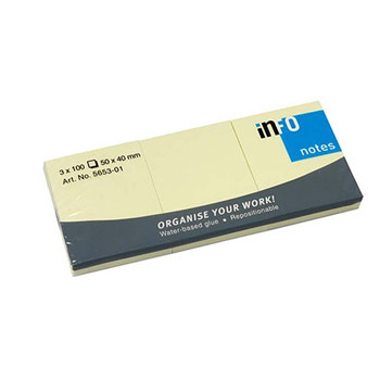 Bloco de Notas Adesivo Amarelo 100 folhas Info Notes 50x40 - Pack 12 unidades