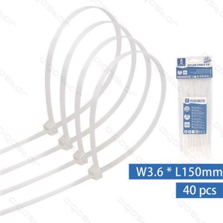 Abraçadeiras de Nylon 150x3.6mm Aigostar Brancas - Pack 40 unidades