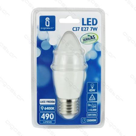 Lâmpada LED E27 9W 6400K Luz Fria 720 Lúmens A5 C37 Aigostar