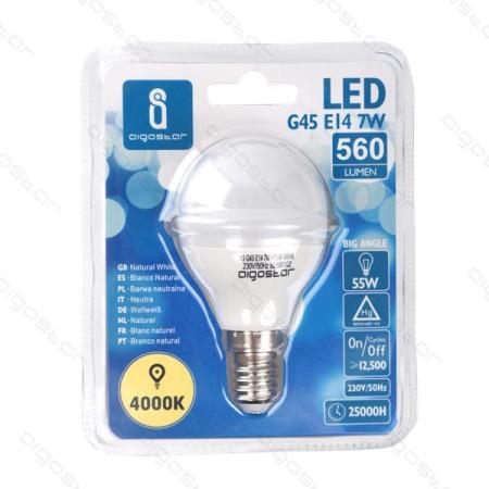Lâmpada LED E14 7W 4000K Luz Natural A5 G45 Aigostar