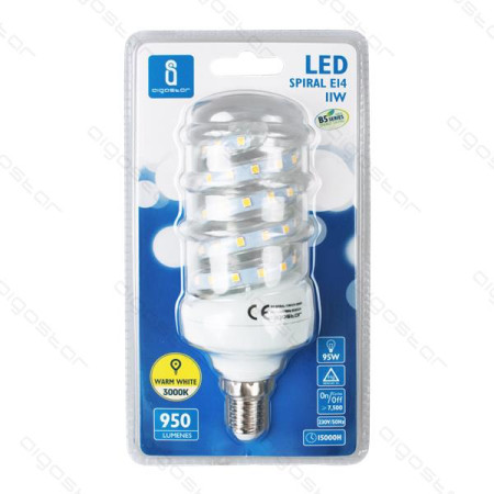 Lâmpada LED Espiral E14 9W 3000K Luz Quente 750 Lúmens B5 Aigostar