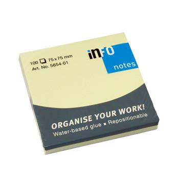 Bloco de Notas Adesivo Amarelo Info Notes 75x75 - Pack 12 unidades