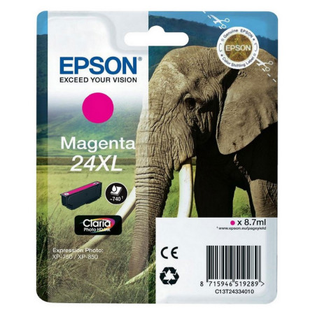 Tinteiro Epson 24 XL Magenta Original Série Elefante (C13T24334010)