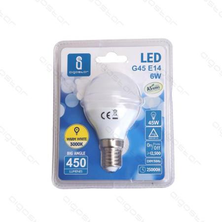 Lâmpada LED E14 3W 3000K Luz Quente 240 Lúmens A5 G45 Aigostar
