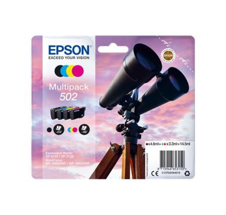 Conjunto 4 Tinteiros Epson 502 Originais Série Binóculos T02V6 (C13T02V64010)