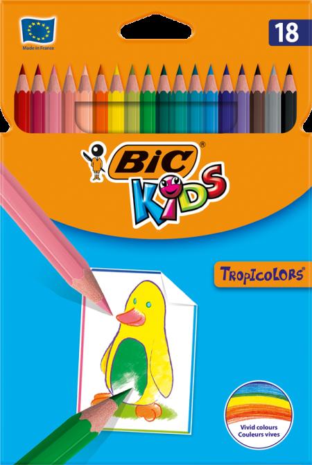 Lápis de Cor 18cm BIC Kids Tropicolors 18 unidades