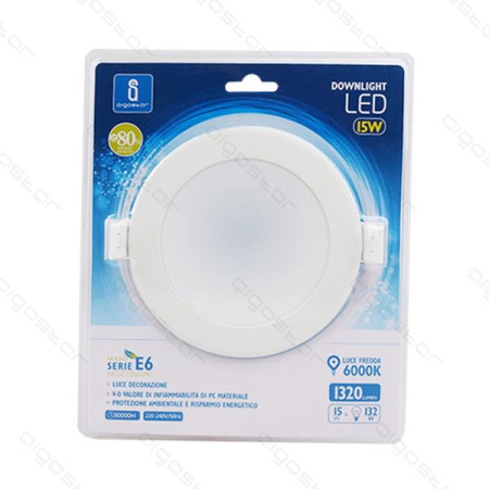 Placa Led Downlight E6 20W 6000K 155-170mm Aigostar