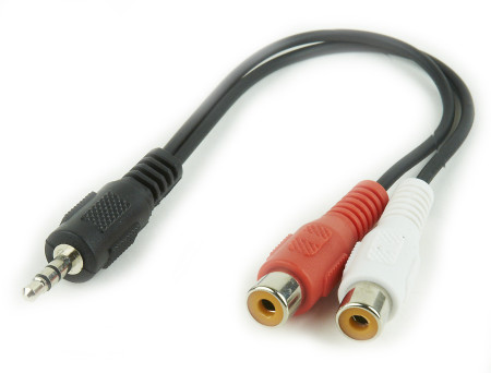 Adaptador Audio 2xRCA Fêmea 3,5mm