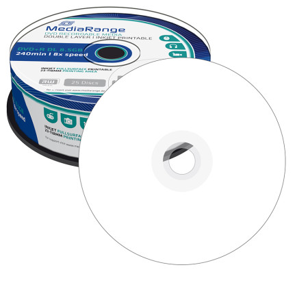 DVD+R DL 8.5GB MediaRange Imprimível 8X - Pack 25   - ONBIT