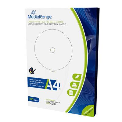 Etiquetas Mediarange para CD/DVD/Bluray MATTE 15-118mm (Pack 100 Folhas)