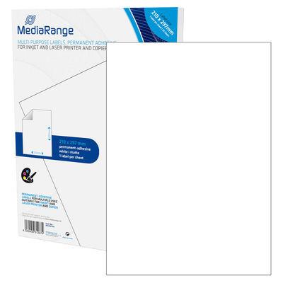 Etiquetas Adesivas Permanentes Mediarange - 210 x 297mm (50 un)