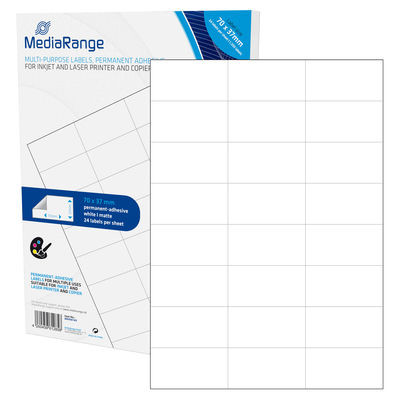 Etiquetas Adesivas Permanentes Mediarange - 70 x 37mm (1.200 un)