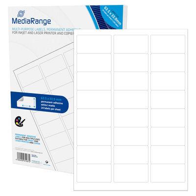 Etiquetas Adesivas Permanentes Mediarange - 63.5 x 33.9mm (1.200 un)