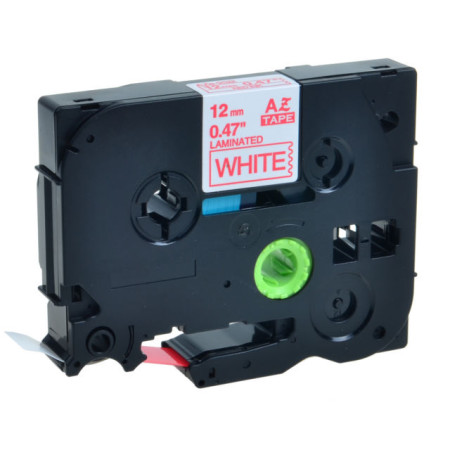 Fita Laminada Compatível Brother TZE-232 - 12mm x 8 metros Vermelho/Branco