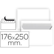 Envelopes Brancos B5 (176X250mm) c/tira de silicone - Pack 250 unidades
