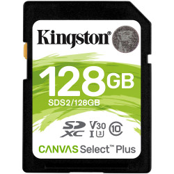 Cartão Memória Kingston Canvas Select Plus C10 U3 V30 UHS-I SDHC 128GB