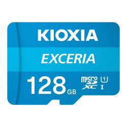 Cartão Memória Kioxia Exceria C10 UHS-I U1 microSDHC 128GB + Adaptador SD