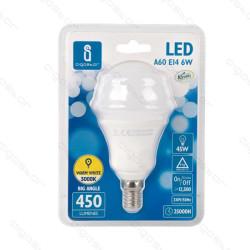 Lâmpada LED E14 6W 3000K Luz Quente A5 A60 Aigostar