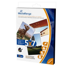 Papel Fotográfico MediaRange 5x7 220g Brilhante (50 folhas)  MRINK114 - ONBIT