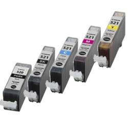 Conjunto 5 Tinteiros Canon Compatíveis PGI-520BK/CLI-521BK/CLI-521C/CLI-521M/CLI-521Y   - ONBIT