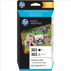 HP 303 Combo 1 Tinteiro Preto + 1 Tricolor + 40 Folhas 10x15cm Foto Original (Z4B6EE)
