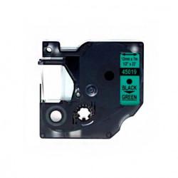 Fita Compatível Dymo D1 45019 - 12mm x 7 metros Preto/Verde S0720590