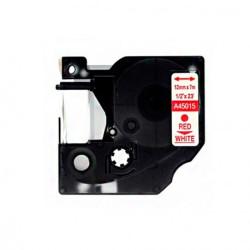 Fita Compatível Dymo D1 45015 - 12mm x 7 metros Vermelho/Branco S0720550