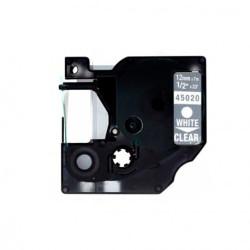 Fita Compatível Dymo D1 45020 - 12mm x 7 metros Branco/Transparente S0720600