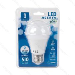 Lâmpada LED E27 6W 6400K Luz Fria A5 A60 Aigostar