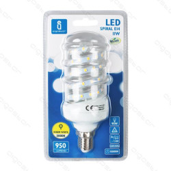 Lâmpada LED Espiral E27 5W 3000K Luz Quente 450 Lúmens B5 Aigostar