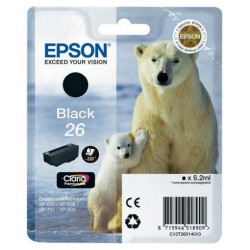 Tinteiro Epson 26 Preto Original Série Urso (C13T26014010)