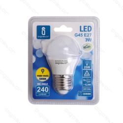 Lâmpada LED E27 3W 3000K Luz Quente 240 Lúmens A5 G45 Aigostar