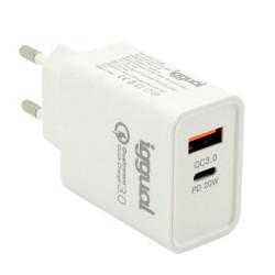 Carregador Duplo USB QC3.0 + Type-C 20W Quick Charge