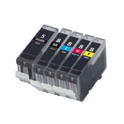 Conjunto 5 Tinteiros Canon Compatíveis PGI-5BK/CLI-8BK/CLI-8C/CLI-8M/CLI-8Y